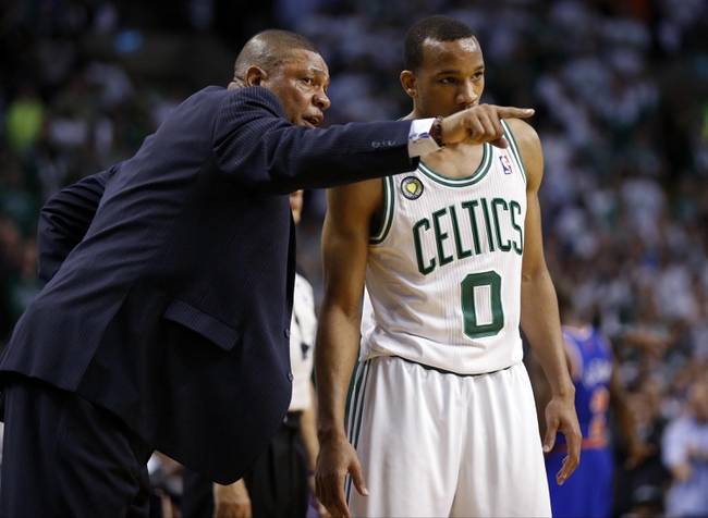 May 3, 2013; Boston, MA, USA; Boston Celtics head coach Doc Rivers talks with point guard Avery Bradley (0) during the game against the New York Knicks in game six of the first round of the 2013 NBA Playoffs at TD Garden. Mandatory Credit: David Butler II-USA TODAY Sports