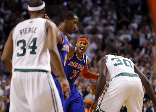 May 3, 2013; Boston, MA, USA; New York Knicks small forward Carmelo Anthony (7) calls a play as they take on the Boston Celtics in game six of the first round of the 2013 NBA Playoffs at TD Garden. The New York Knicks defeated the Celtics 88-80. Mandatory Credit: David Butler II-USA TODAY Sports