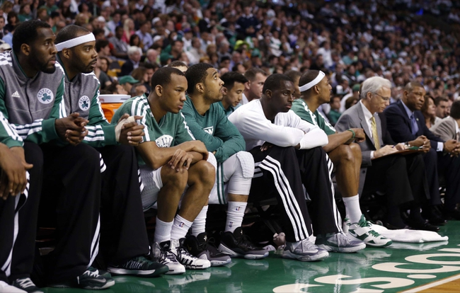 May 3, 2013; Boston, MA, USA; The Boston Celtics bench reacts during the game against  the New York Knicks in game six of the first round of the 2013 NBA Playoffs at TD Garden. The New York Knicks defeated the Celtics 88-80. Mandatory Credit: David Butler II-USA TODAY Sports