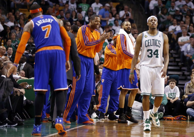 May 3, 2013; Boston, MA, USA; The New York Knicks bench reacts after a play against the Boston Celtics in game six of the first round of the 2013 NBA Playoffs at TD Garden. The New York Knicks defeated the Celtics 88-80. Mandatory Credit: David Butler II-USA TODAY Sports