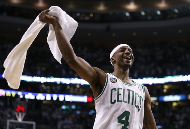 May 3, 2013; Boston, MA, USA; Boston Celtics shooting guard Jason Terry (4) reacts during the game against the New York Knicks in game six of the first round of the 2013 NBA Playoffs at TD Garden. The New York Knicks defeated the Celtics 88-80. Mandatory Credit: David Butler II-USA TODAY Sports