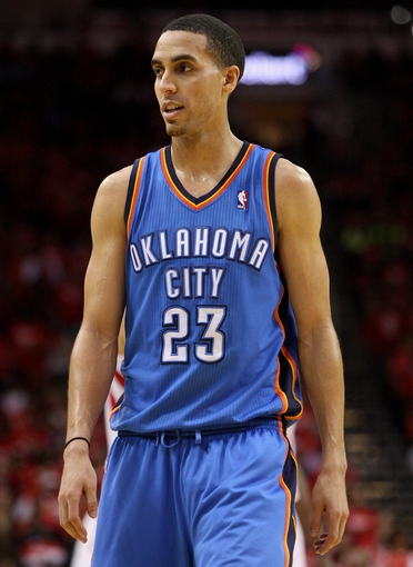 May 3, 2013; Houston, TX, USA; Oklahoma City Thunder shooting guard Kevin Martin (23) reacts after a play during the fourth quarter against the Houston Rockets in game six of the first round of the 2013 NBA Playoffs at the Toyota Center. Mandatory Credit: Troy Taormina-USA TODAY Sports