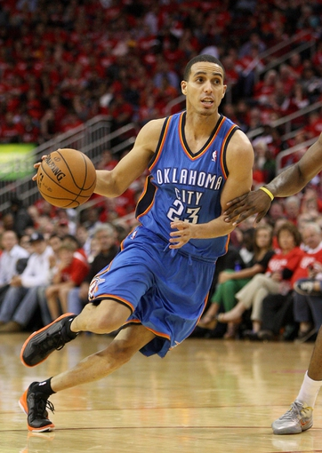 May 3, 2013; Houston, TX, USA; Oklahoma City Thunder shooting guard Kevin Martin (23) drives the ball during the fourth quarter against the Houston Rockets in game six of the first round of the 2013 NBA Playoffs at the Toyota Center. Mandatory Credit: Troy Taormina-USA TODAY Sports