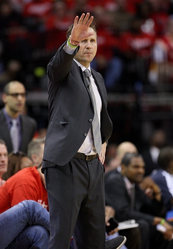 May 3, 2013; Houston, TX, USA; Oklahoma City Thunder head coach Scott Brooks signals during the fourth quarter in game six of the first round of the 2013 NBA Playoffs against the Houston Rockets at the Toyota Center. Mandatory Credit: Troy Taormina-USA TODAY Sports