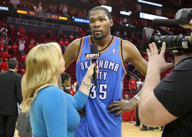May 3, 2013; Houston, TX, USA; Oklahoma City Thunder small forward Kevin Durant (35) talks to the media after game six of the first round of the 2013 NBA Playoffs against the Houston Rockets at the Toyota Center. The Thunder defeated the Rockets 104-93. Mandatory Credit: Troy Taormina-USA TODAY Sports