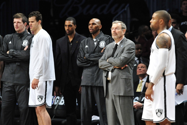 May 4, 2013; Brooklyn, NY, USA; Brooklyn Nets players and coaches look on during the final minute of the second half in game seven of the first round of the 2013 NBA Playoffs at the Barclays Center. The Bulls won 99-93Mandatory Credit: Joe Camporeale-USA TODAY Sports