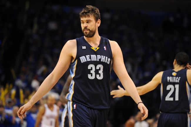 May 5, 2013; Oklahoma City, OK, USA; Memphis Grizzlies center Marc Gasol (33) reacts to a play in action against the Oklahoma City Thunder during the second half in game one of the second round of the 2013 NBA Playoffs at Chesapeake Energy Arena. The Thunder defeated the Grizzlies 93-91. Mandatory Credit: Mark D. Smith-USA TODAY Sports