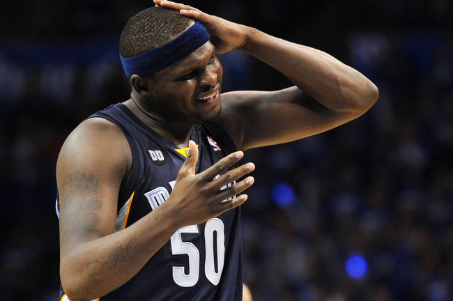 May 5, 2013; Oklahoma City, OK, USA; Memphis Grizzlies forward Zach Randolph (50) reacts to a call in action against the Oklahoma City Thunder during the second half in game one of the second round of the 2013 NBA Playoffs at Chesapeake Energy Arena. The Thunder defeated the Grizzlies 93-91. Mandatory Credit: Mark D. Smith-USA TODAY Sports