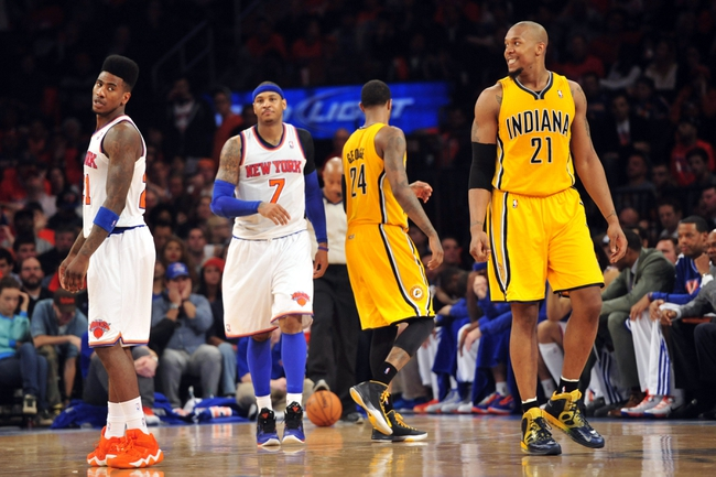 May 5, 2013; New York, NY, USA; Indiana Pacers power forward David West (21) smiles after New York Knicks small forward Iman Shumpert (21) throws away the ball during the second half of game one of the second round of the NBA Playoffs. Pacers won the game 102-95. Mandatory Credit: Joe Camporeale-USA TODAY Sports
