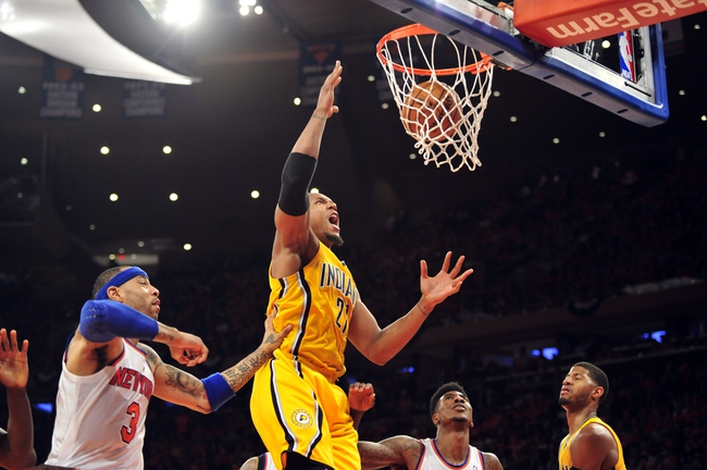 May 5, 2013; New York, NY, USA; Indiana Pacers power forward David West (21) puts in a layup against the New York Knicks during the second half of game one of the second round of the NBA Playoffs. Pacers won the game 102-95. Mandatory Credit: Joe Camporeale-USA TODAY Sports