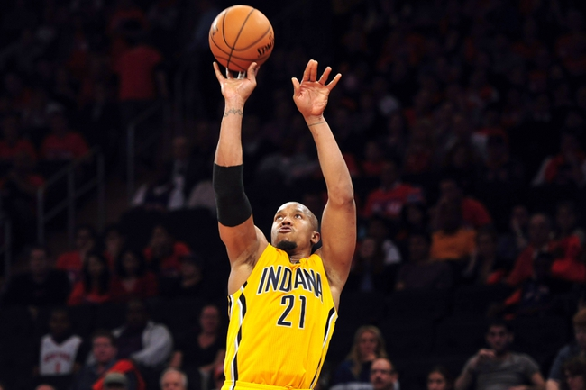 May 5, 2013; New York, NY, USA; Indiana Pacers power forward David West (21) shoots against the New York Knicks during the second half of game one of the second round of the NBA Playoffs. Pacers won the game 102-95. Mandatory Credit: Joe Camporeale-USA TODAY Sports