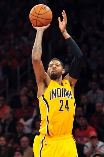 May 5, 2013; New York, NY, USA; Indiana Pacers small forward Paul George (24) puts up a shot against the New York Knicks during the second half of game one of the second round of the NBA Playoffs. Pacers won the game 102-95. Mandatory Credit: Joe Camporeale-USA TODAY Sports