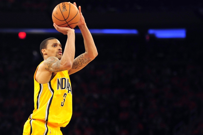 May 5, 2013; New York, NY, USA; Indiana Pacers point guard George Hill (3) puts up a shot against the New York Knicks during the second half of game one of the second round of the NBA Playoffs. Pacers won the game 102-95. Mandatory Credit: Joe Camporeale-USA TODAY Sports