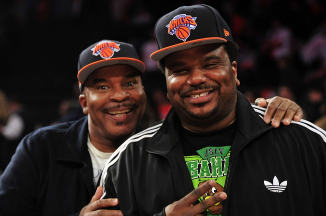May 5, 2013; New York, NY, USA; Actors David Alan Grier (left) and Craig Robinson look on during the second half of game one of the second round of the NBA Playoffs between the Indiana Pacers and New York Knicks. Pacers won the game 102-95. Mandatory Credit: Joe Camporeale-USA TODAY Sports