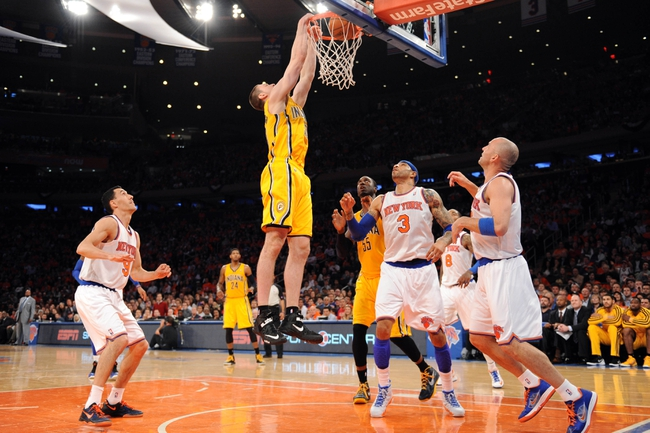 May 5, 2013; New York, NY, USA; Indiana Pacers power forward Tyler Hansbrough (50) dunks against the New York Knicks during the second half of game one of the second round of the NBA Playoffs. Pacers won the game 102-95. Mandatory Credit: Joe Camporeale-USA TODAY Sports