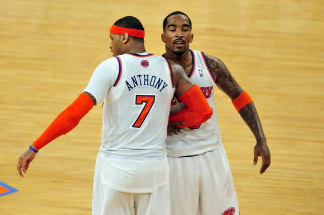 May 7, 2013; New York, NY, USA; New York Knicks small forward Carmelo Anthony (7) and shooting guard J.R. Smith (8) celebrate against the Indiana Pacers during the second half in game two of the second round of the 2013 NBA Playoffs at Madison Square Garden. Knicks won the game 105-79. Mandatory Credit: Joe Camporeale-USA TODAY Sports