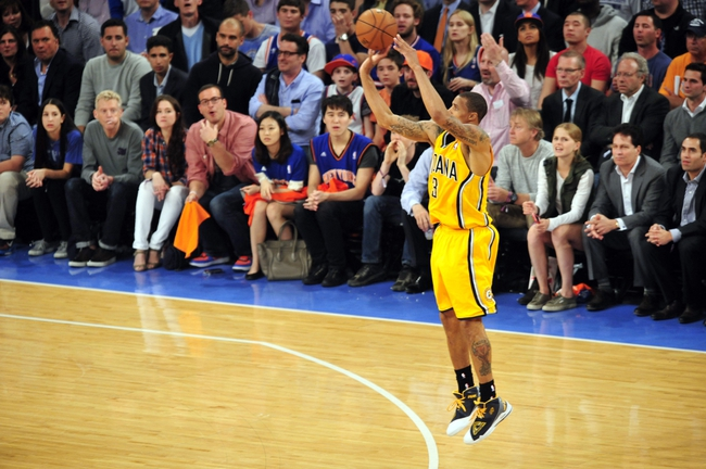 May 7, 2013; New York, NY, USA; Indiana Pacers point guard George Hill (3) shoots against the New York Knicks during the second half in game two of the second round of the 2013 NBA Playoffs at Madison Square Garden. Knicks won the game 105-79. Mandatory Credit: Joe Camporeale-USA TODAY Sports