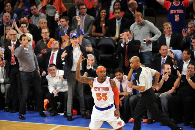 May 7, 2013; New York, NY, USA; New York Knicks small forward Quentin Richardson (55) reacts after making a three point basket against the Indiana Pacers during the second half in game two of the second round of the 2013 NBA Playoffs at Madison Square Garden. Knicks won the game 105-79. Mandatory Credit: Joe Camporeale-USA TODAY Sports