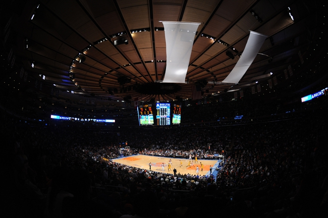 May 7, 2013; New York, NY, USA; A general view of the New York Knicks and Indiana Pacers game during the second half in game two of the second round of the 2013 NBA Playoffs at Madison Square Garden. Knicks won the game 105-79. Mandatory Credit: Joe Camporeale-USA TODAY Sports