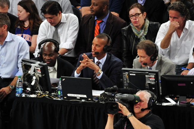 May 7, 2013; New York, NY, USA; Indiana Pacers former shooting guard Reggie Miller (center) commentates during the second half in game two of the second round of the 2013 NBA Playoffs between the New York Knicks and Indiana Pacers at Madison Square Garden. Knicks won the game 105-79. Mandatory Credit: Joe Camporeale-USA TODAY Sports