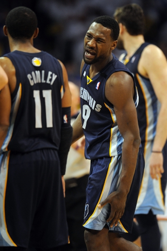 May 7, 2013; Oklahoma City, OK, USA; Memphis Grizzlies guard Tony Allen reacts to a play in action against the Oklahoma City Thunder during the second half in game two of the second round of the 2013 NBA Playoffs at Chesapeake Energy Arena. Mandatory Credit: Mark D. Smith-USA TODAY Sports