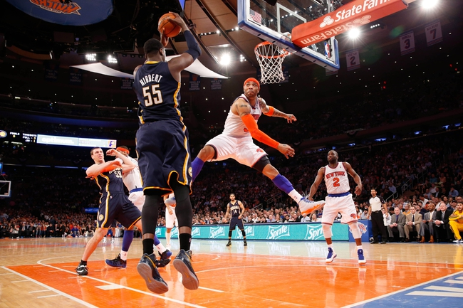 May 16, 2013; New York, NY, USA;  New York Knicks power forward Kenyon Martin (3) defends against Indiana Pacers center Roy Hibbert (55) during the fourth quarter of Game 5 in the Eastern Conference semifinals at Madison Square Garden. Knicks won 85-75.  Mandatory Credit: Anthony Gruppuso-USA TODAY Sports
