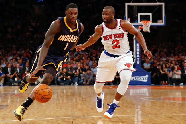May 16, 2013; New York, NY, USA;  Indiana Pacers shooting guard Lance Stephenson (1) drives around New York Knicks point guard Raymond Felton (2) during the fourth quarter of Game 5 in the Eastern Conference semifinals at Madison Square Garden. Knicks won 85-75.  Mandatory Credit: Anthony Gruppuso-USA TODAY Sports