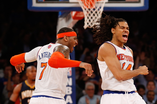 May 16, 2013; New York, NY, USA;  New York Knicks small forward Chris Copeland (14) celebrates scoring with small forward Carmelo Anthony (7) during the third quarter against the Indiana Pacers in game 5 of the second round of the 2013 NBA Playoffsat Madison Square Garden. Knicks won 85-75.  Mandatory Credit: Anthony Gruppuso-USA TODAY Sports