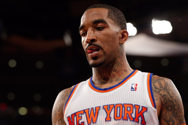 May 16, 2013; New York, NY, USA;   New York Knicks shooting guard J.R. Smith (8) during the fourth quarter against the Indiana Pacers in game 5 of the second round of the 2013 NBA Playoffsat Madison Square Garden. Knicks won 85-75.  Mandatory Credit: Anthony Gruppuso-USA TODAY Sports
