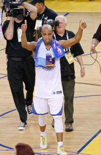 May 16, 2013; Oakland, CA, USA; Golden State Warriors point guard Jarrett Jack (2) acknowledges fans after the loss to the San Antonio Spurs in game six of the second round of the 2013 NBA Playoffs at Oracle Arena.  The San Antonio Spurs defeated the Golden State Warriors 94-82 to win the series. Mandatory Credit: Kelley L Cox-USA TODAY Sports