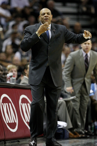 May 19, 2013; San Antonio, TX, USA; Memphis Grizzlies head coach Lionel Hollins reacts after a play during the first quarter against the San Antonio Spurs in game one of the Western Conference finals of the 2013 NBA Playoffs at AT&T Center. Mandatory Credit: Troy Taormina-USA TODAY Sports