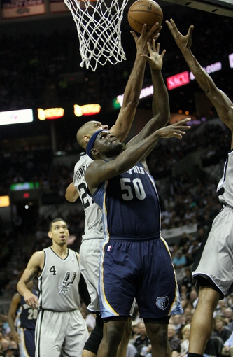 May 19, 2013; San Antonio, TX, USA; Memphis Grizzlies power forward Zach Randolph (50) attempts to get a rebound during the third quarter against the San Antonio Spurs in game one of the Western Conference finals of the 2013 NBA Playoffs at AT&T Center. Mandatory Credit: Troy Taormina-USA TODAY Sports