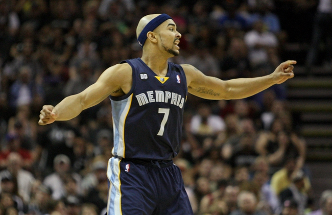 May 19, 2013; San Antonio, TX, USA; Memphis Grizzlies point guard Jerryd Bayless (7) reacts after a play during the third quarter against the San Antonio Spurs  in game one of the Western Conference finals of the 2013 NBA Playoffs at AT&T Center. Mandatory Credit: Troy Taormina-USA TODAY Sports