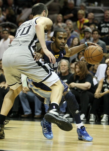 May 19, 2013; San Antonio, TX, USA; Memphis Grizzlies point guard Mike Conley (11) attempts to drive the ball around San Antonio Spurs shooting guard Manu Ginobili (20) during the fourth quarter in game one of the Western Conference finals of the 2013 NBA Playoffs at AT&T Center. Mandatory Credit: Troy Taormina-USA TODAY Sports