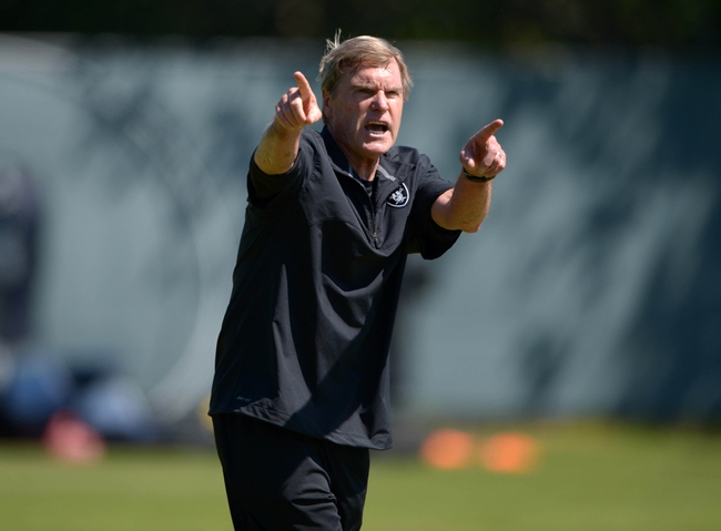 May 20, 2013; Alameda, CA, USA; Oakland Raiders senior offensive assistant coach Al Saunders at organized team activities at the Raiders practice facility. Mandatory Credit: Kirby Lee-USA TODAY Sports