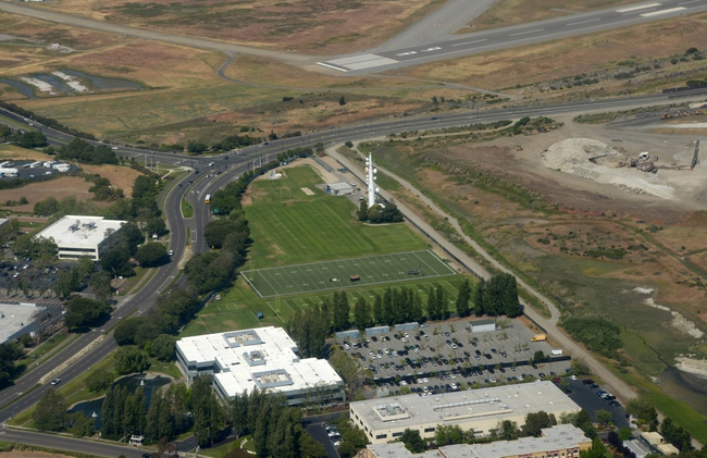 May 20, 2013; Alameda, CA, USA; Aerial view of the Oakland Raiders practice facility during organized team activities. Mandatory Credit: Kirby Lee-USA TODAY Sports