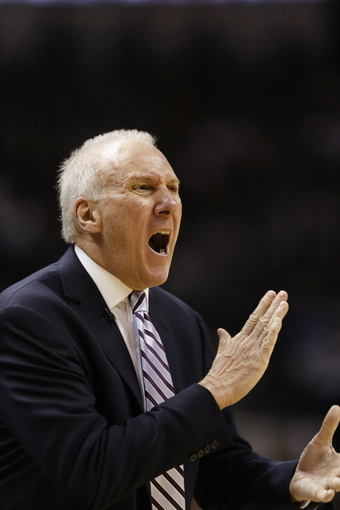 May 21, 2013; San Antonio, TX, USA; San Antonio Spurs head coach Gregg Popovich reacts in game two of the Western Conference finals of the 2013 NBA Playoffs against the Memphis Grizzlies at AT&T Center. Mandatory Credit: Soobum Im-USA TODAY Sports