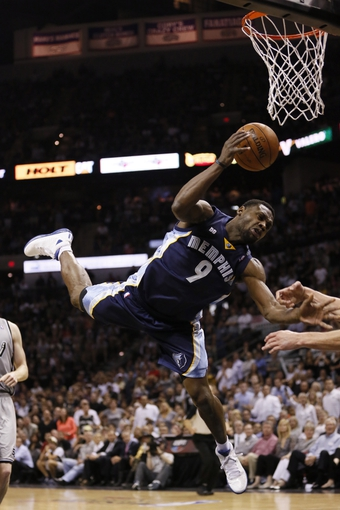 May 21, 2013; San Antonio, TX, USA; San Antonio Spurs guard Manu Ginobili (not pictured) fouls Memphis Grizzlies guard Tony Allen (9) in game two of the Western Conference finals of the 2013 NBA Playoffs at AT&T Center. Mandatory Credit: Soobum Im-USA TODAY Sports