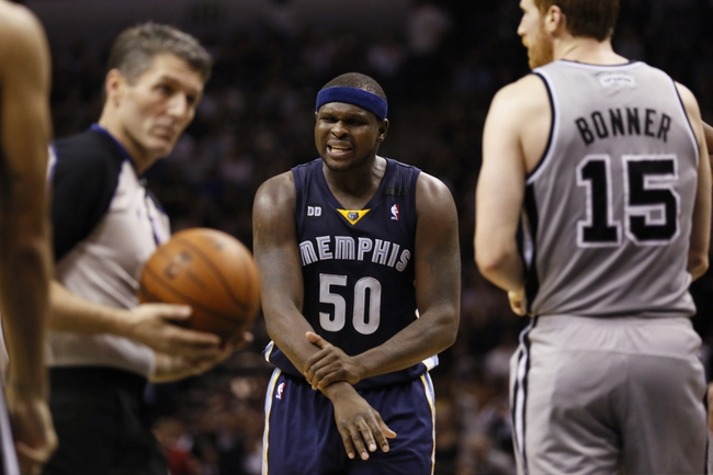 May 21, 2013; San Antonio, TX, USA; Memphis Grizzlies forward Zach Randolph (50) reacts in game two of the Western Conference finals of the 2013 NBA Playoffs against the San Antonio Spurs at AT&T Center. Mandatory Credit: Soobum Im-USA TODAY Sports
