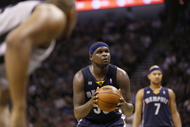 May 21, 2013; San Antonio, TX, USA; Memphis Grizzlies forward Zach Randolph (50) shoots a free throw in game two of the Western Conference finals of the 2013 NBA Playoffs against the San Antonio Spurs at AT&T Center. Mandatory Credit: Soobum Im-USA TODAY Sports