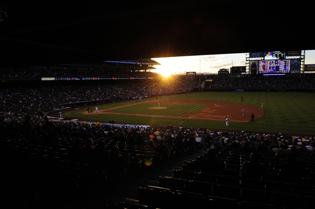 May 21, 2013; Denver, CO, USA; General view during a sunset at Coors Field during the game between the Arizona Diamondbacks against the Colorado Rockies. The Rockies defeated the Diamondback 5-4 in ten innings. Mandatory Credit: Ron Chenoy-USA TODAY Sports