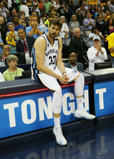 May 27, 2013; Memphis, TN, USA; Memphis Grizzlies center Marc Gasol (33) reacts after game four of the Western Conference finals of the 2013 NBA Playoffs against the San Antonio Spurs at FedEx Forum.  The Spurs won 93-86.  Mandatory Credit: Spruce Derden-USA TODAY Sports
