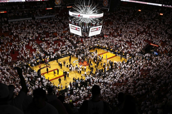 Jun 3, 2013; Miami, FL, USA; The Miami Heat celebrate winning game 7 of the 2013 NBA Eastern Conference Finals at American Airlines Arena. Miami Heat defeated the Indiana Pacers 99-76 to win the series 4 games to 3 . Mandatory Credit: Robert Mayer-USA TODAY Sports