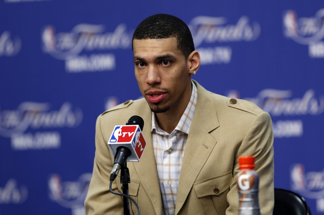 Jun 11, 2013; San Antonio, TX, USA; San Antonio Spurs shooting guard Danny Green addresses the media during a press conference after game three of the 2013 NBA Finals against the Miami Heat at the AT&T Center. San Antonio Spurs won 113-77.  Mandatory Credit: Soobum Im-USA TODAY Sports