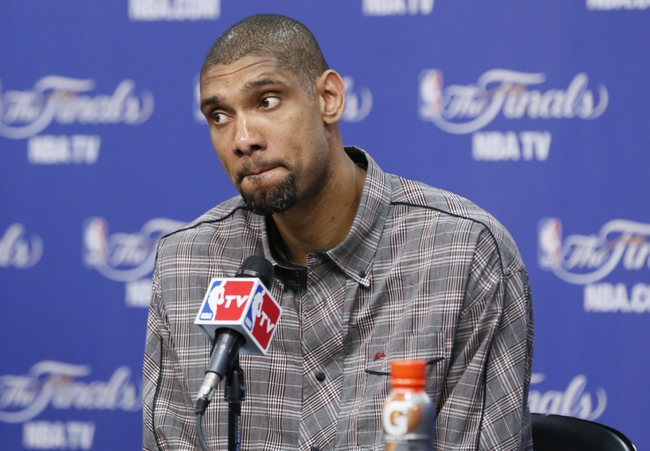 Jun 13, 2013; San Antonio, TX, USA; San Antonio Spurs power forward Tim Duncan speaks at a postgame press conference following game four against the Miami Heat in the 2013 NBA Finals at the AT&T Center. The Heat defeated the Spurs 109-93. Mandatory Credit: Soobum Im-USA TODAY Sports