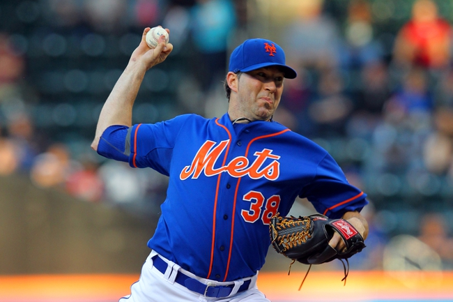 Jun 14, 2013; New York, NY, USA; New York Mets starting pitcher Shaun Marcum (38) pitches against the Chicago Cubs during the first inning of a game at Citi Field. Mandatory Credit: Brad Penner-USA TODAY Sports