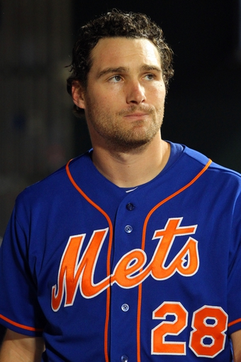 Jun 14, 2013; New York, NY, USA; New York Mets first baseman Daniel Murphy (28) reacts after losing to the Chicago Cubs in a game at Citi Field. Mandatory Credit: Brad Penner-USA TODAY Sports