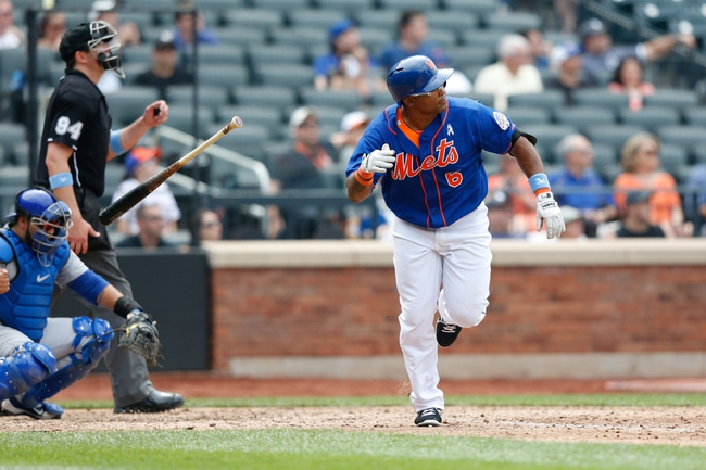 Jun 16, 2013; Flushing, NY,USA;  New York Mets right fielder Marlon Byrd (6) heads to first on his home run during the ninth inning against the Chicago Cubs at Citi Field.  Mets won 4-3.  Mandatory Credit: Anthony Gruppuso-USA TODAY Sports