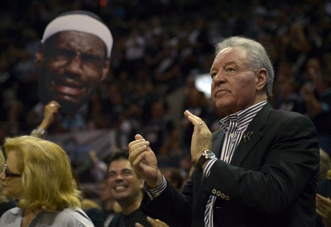 Jun 16, 2013; San Antonio, TX, USA;  San Antonio Spurs owner Peter Holt cheers against the Miami Heat during the fourth quarter of game five in the 2013 NBA Finals at the AT&T Center. Mandatory Credit: Brendan Maloney-USA TODAY Sports