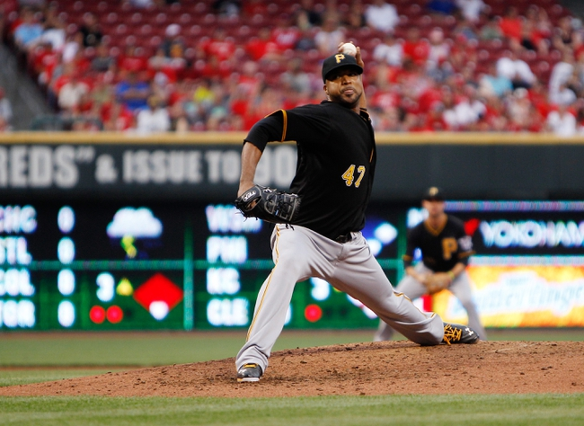 Jun 17, 2013; Cincinnati, OH, USA; Pittsburgh Pirates starting pitcher Francisco Liriano (47) pitches during the third inning against the Pittsburgh Pirates at Great American Ball Park. Mandatory Credit: Frank Victores-USA TODAY Sports